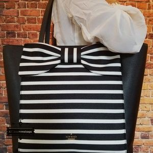 Kate spade savannah stripe lottie bow large tote